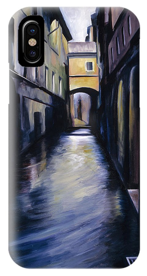 Street; Canal; Venice ; Desert; Abandoned; Delapidated; Lost; Highway; Route 66; Road; Vacancy; Run-down; Building; Old Signage; Nastalgia; Vintage; James Christopher Hill; Jameshillgallery.com; Foliage; Sky; Realism; Oils IPhone X Case featuring the painting Venice by James Christopher Hill