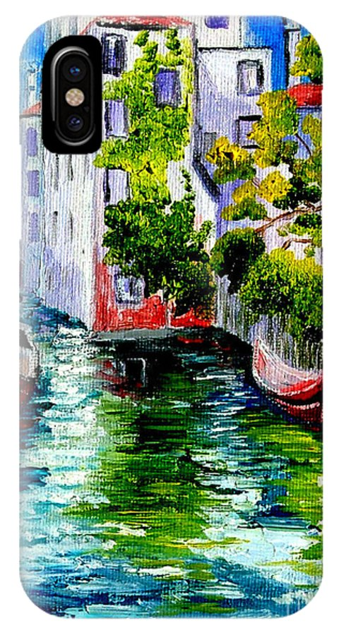 Venice IPhone X Case featuring the painting Venice Reflection by Inna Montano