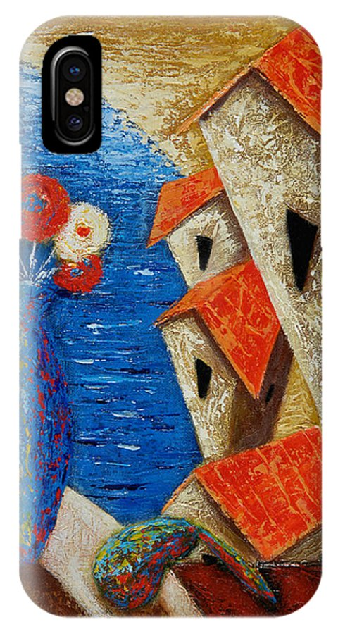 Landscape IPhone X Case featuring the painting Ventana Al Mar by Oscar Ortiz