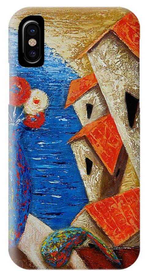 Landscape IPhone X Case featuring the painting Ventana Al Mar by Oscar Ortiz