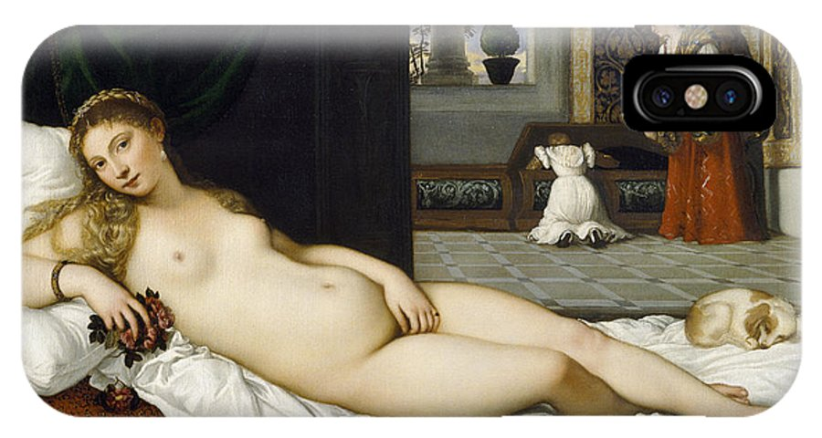 Nude; Bed Chamber; Female; Reclining; Venetian Renaissance; Goddess Of Love; Aphrodite; Interior; Maid; Chest; Cassone; Urbin IPhone X Case featuring the painting Venus Of Urbino Before 1538 by Tiziano Vecellio