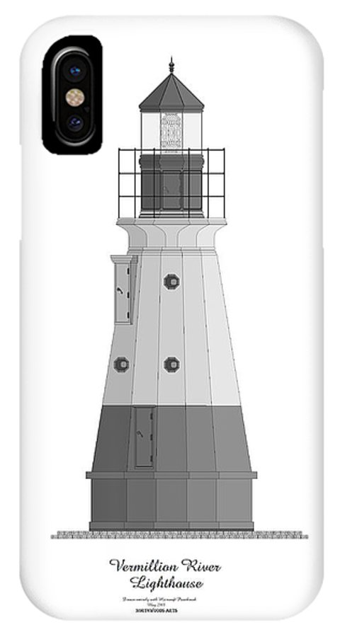 Lighthouse IPhone Case featuring the painting Vermillion River Lighthouse Architectural Rendering by Anne Norskog