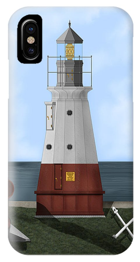 Lighthouse IPhone X Case featuring the painting Vermillion River Lighthouse on Lake Erie by Anne Norskog