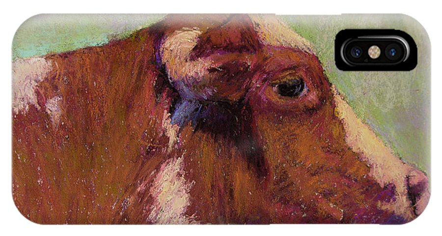 Farm Animals IPhone Case featuring the painting Vermont Red And White by Susan Williamson