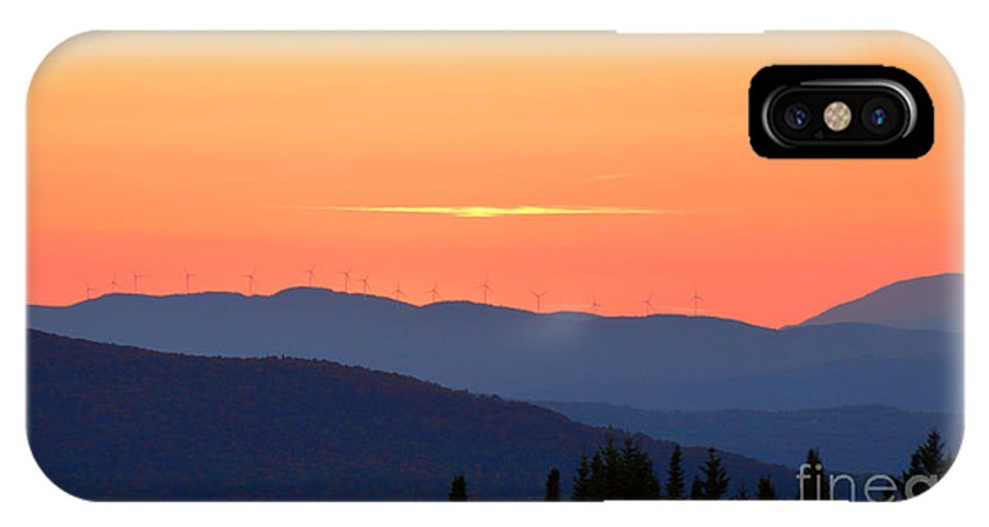Vermont IPhone X Case featuring the photograph Vermont Sunset With Wind Turbines by Catherine Sherman