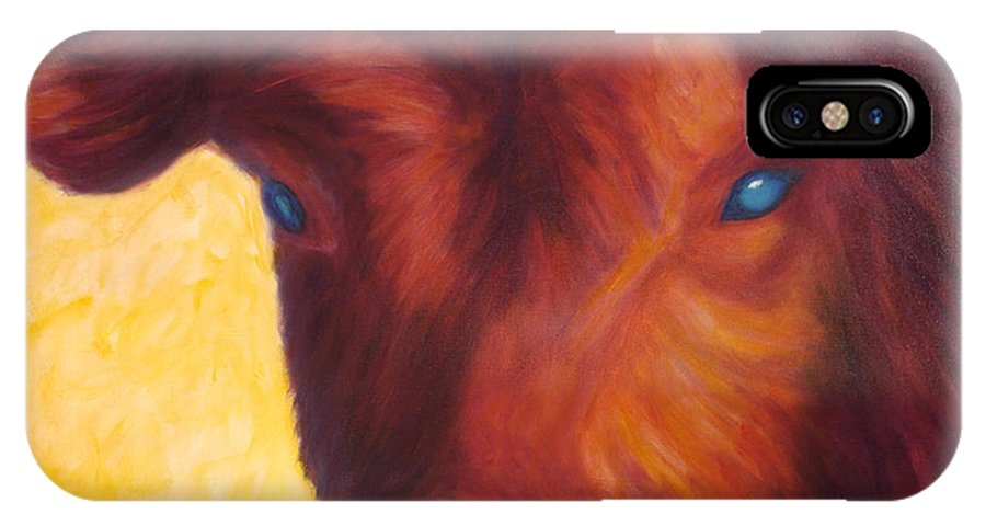 Bull IPhone X Case featuring the painting Vern by Shannon Grissom