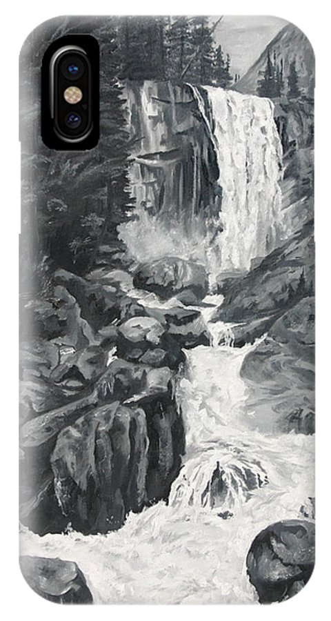 Landscape IPhone X Case featuring the painting Vernal Falls Black And White by Travis Day