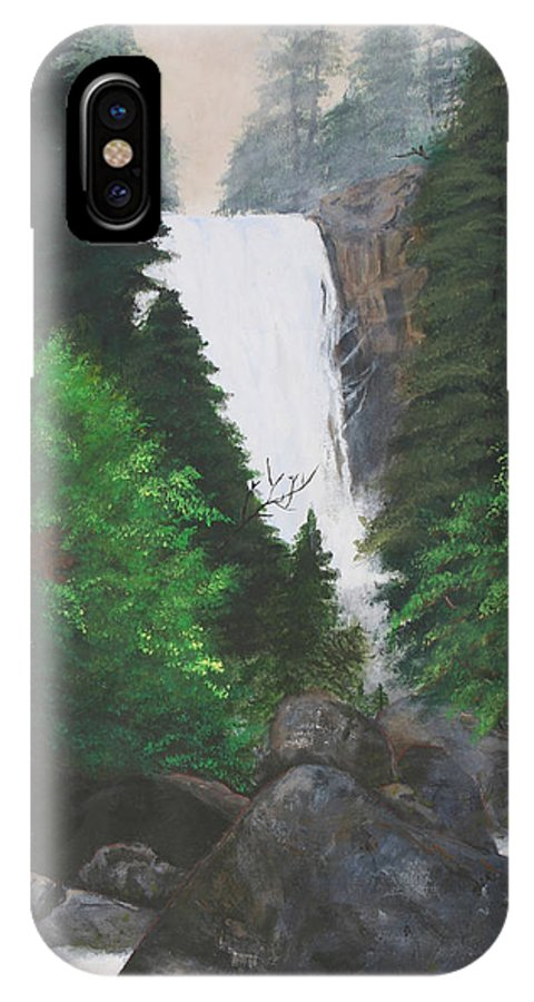 Landscape IPhone X Case featuring the painting Vernal Falls by Travis Day