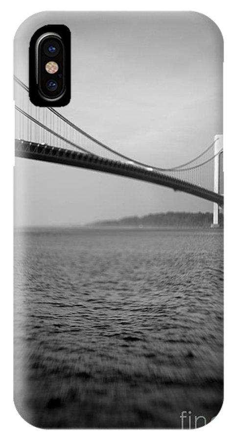 Black & White IPhone X Case featuring the photograph Verrazano Bridge 1 by Tony Cordoza