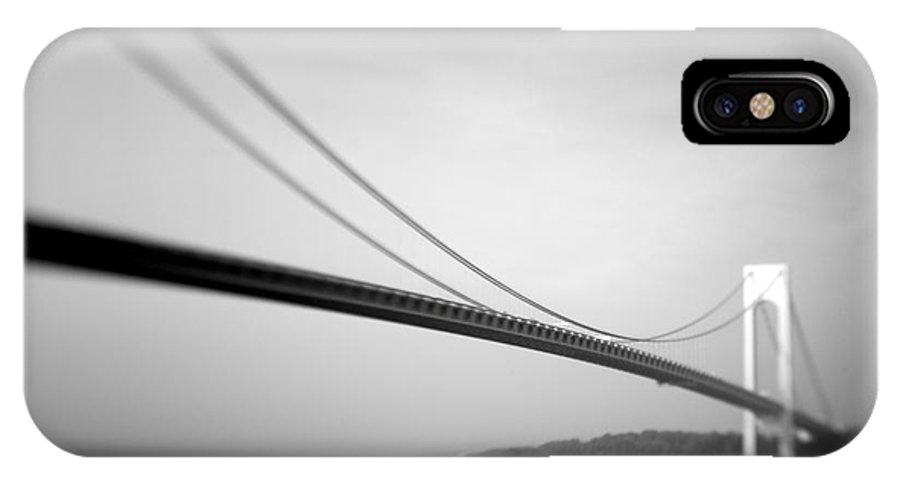 Black & White IPhone X Case featuring the photograph Verrazano Bridge 2 by Tony Cordoza