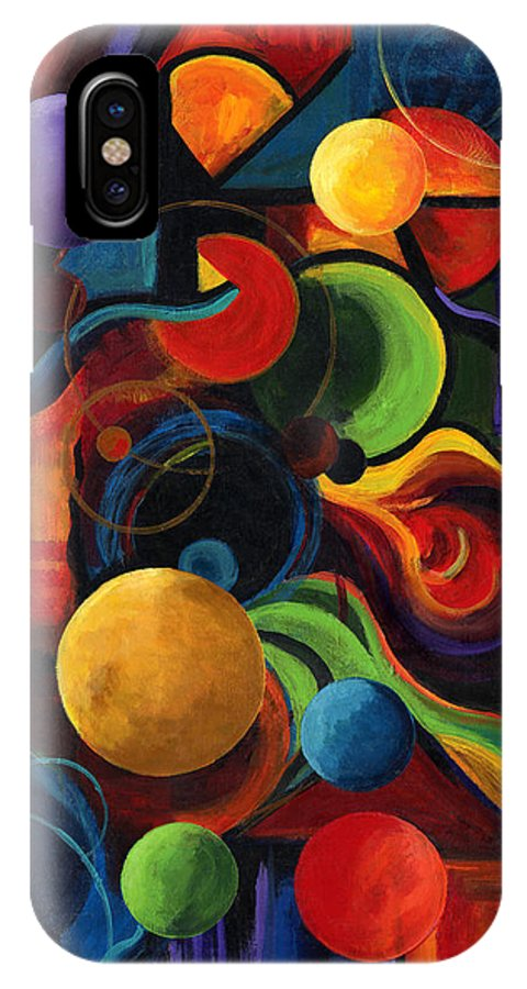 Synergy IPhone Case featuring the painting Vertical Synergy by Laura Swink