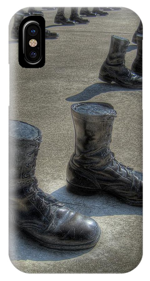 Boots IPhone X Case featuring the photograph Veteran's Memorial Walk by Jane Linders