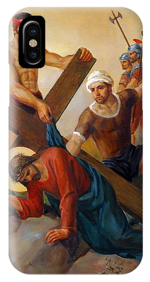 Via Dolorosa IPhone X Case featuring the painting Via Dolorosa - The Second Fall Of Jesus - 7 by Svitozar Nenyuk