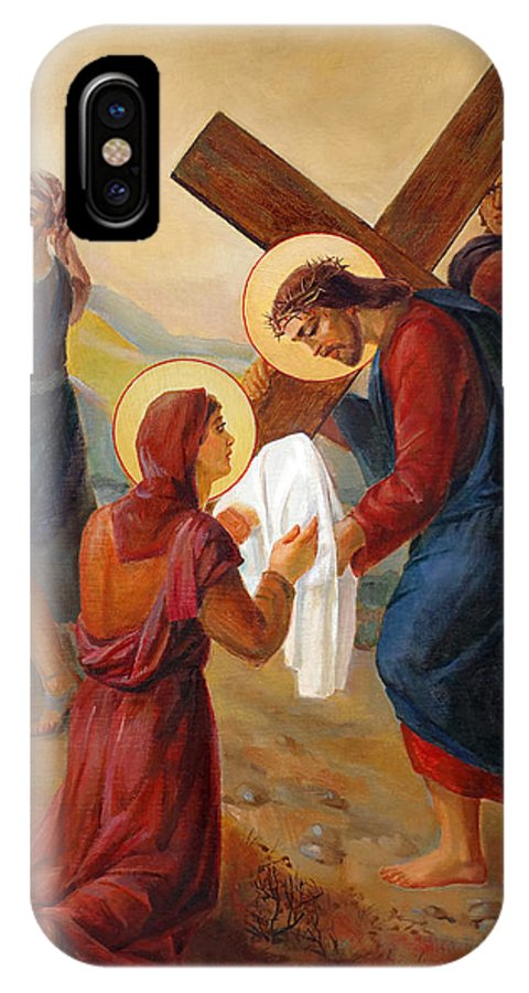 Messiah IPhone X Case featuring the painting Via Dolorosa - Veil Of Saint Veronica - 6 by Svitozar Nenyuk