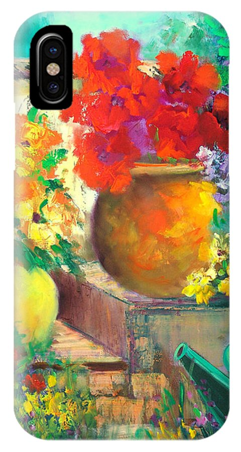 Garden IPhone X Case featuring the painting Vibrant Garden by Sally Seago