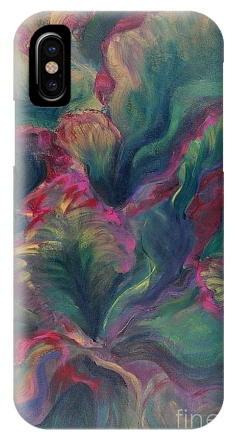 Leaves IPhone X Case featuring the painting Vibrant Leaves by Nadine Rippelmeyer