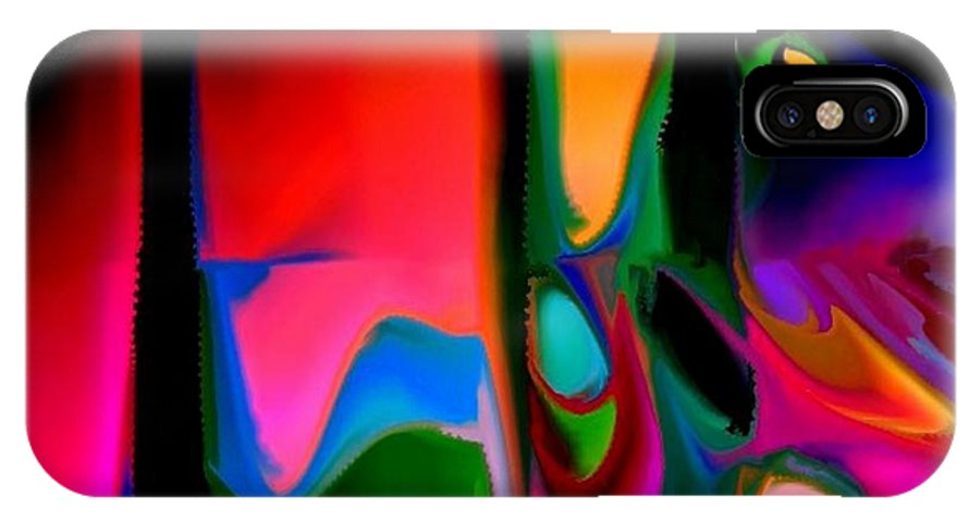 Abstract IPhone X Case featuring the digital art Vibrant by Robert Burns