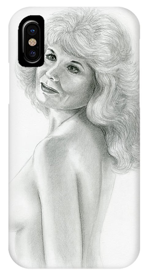 Nude IPhone X Case featuring the drawing Vibrant by Shelby