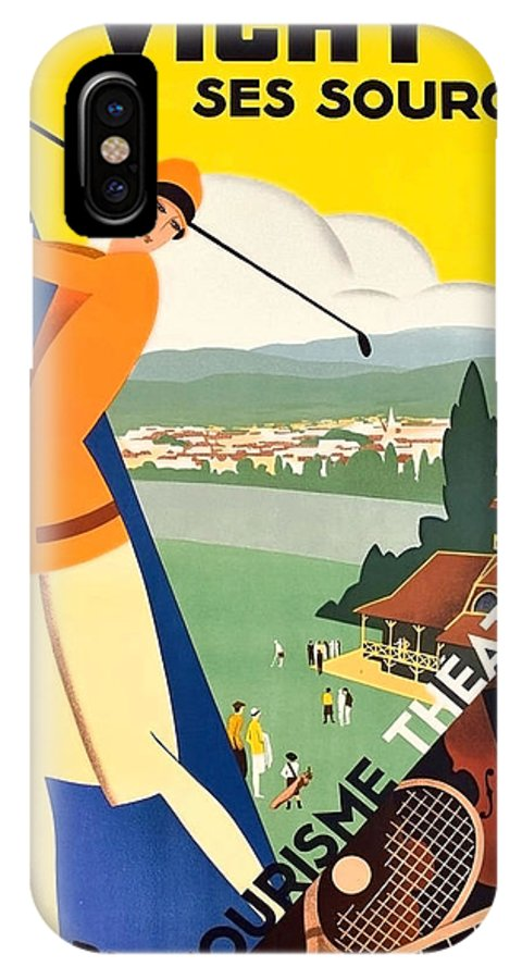 Vichy IPhone X Case featuring the painting Vichy, Sport Tourism, Woman Play Golf by Long Shot