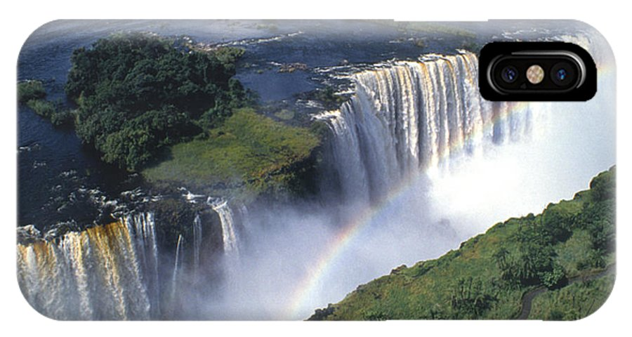 Africa IPhone X Case featuring the photograph Victoria Falls Rainbow by Sandra Bronstein