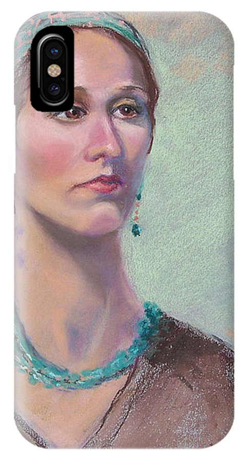 Portrait IPhone X Case featuring the painting Victoria by Laurie Paci