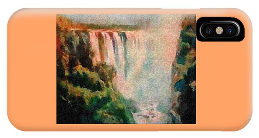 Rural IPhone X Case featuring the painting Victoria Waterfalls L B by Gert J Rheeders