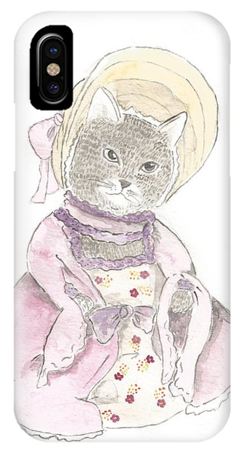 Victorian IPhone X Case featuring the painting Victorian Cat In Purple by Silvia Beneforti