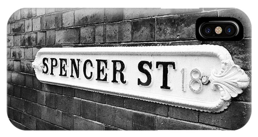 Victorian IPhone X / XS Case featuring the photograph victorian metal street sign for spencer street on red brick building in the jewellery quarter Birmin by Joe Fox