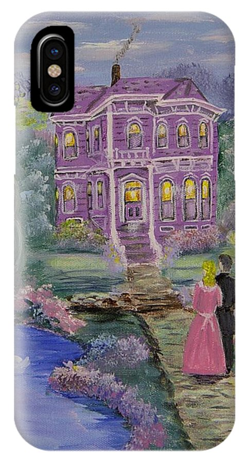 Victorian IPhone X Case featuring the painting Victorian Romance 1 by Quwatha Valentine