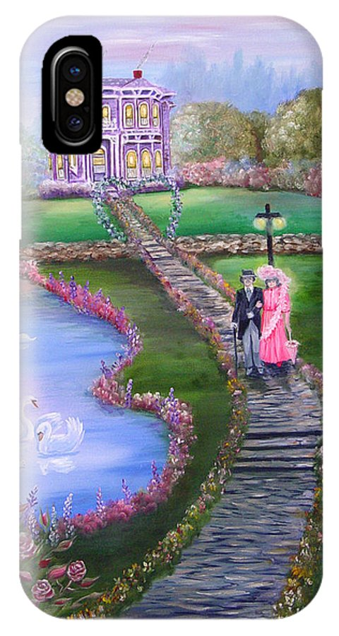 Victorian IPhone X Case featuring the painting Victorian Romance 2 by Quwatha Valentine
