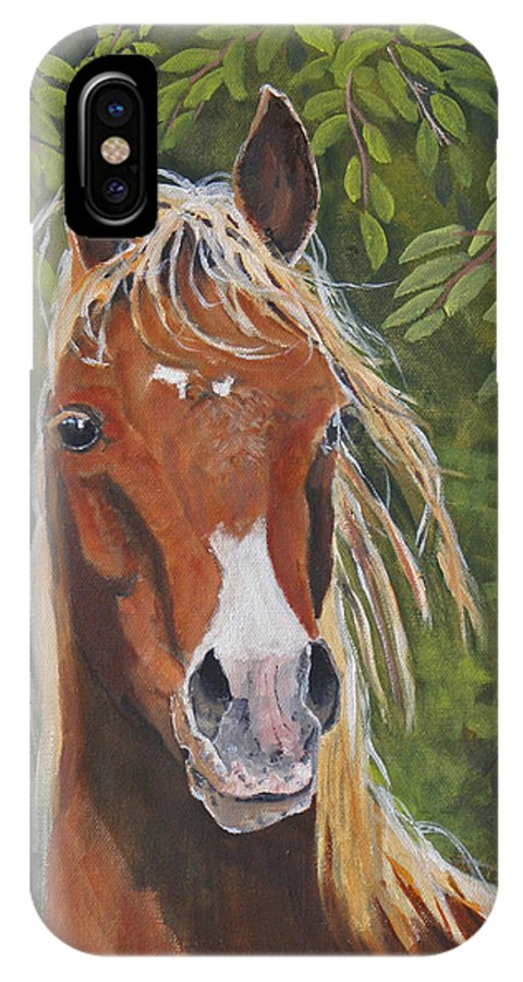 Horse IPhone X Case featuring the painting Victory by Heather Coen