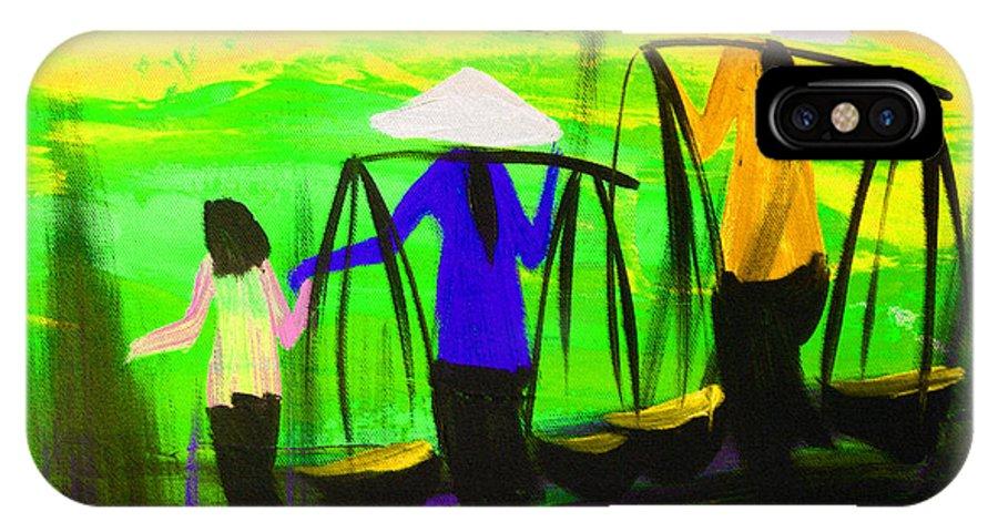 Vietnam IPhone X Case featuring the digital art Vietnamese Women V1 by Brad Spencer