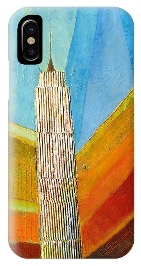 Abstract Cityscape IPhone X / XS Case featuring the painting View From 34th St by Habib Ayat