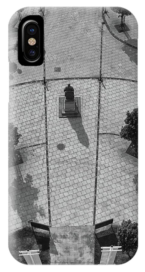View IPhone X Case featuring the photograph View From A Church Tower Monochrome by Jeff Townsend