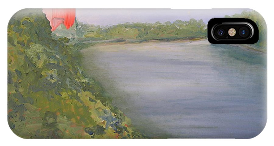 Landscape River Water Nature IPhone X Case featuring the painting View From Edmund Pettus Bridge by Patricia Caldwell