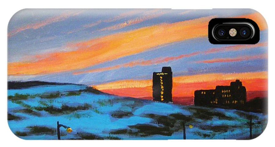 City At Night IPhone X Case featuring the painting View From My Balcony by John Malone