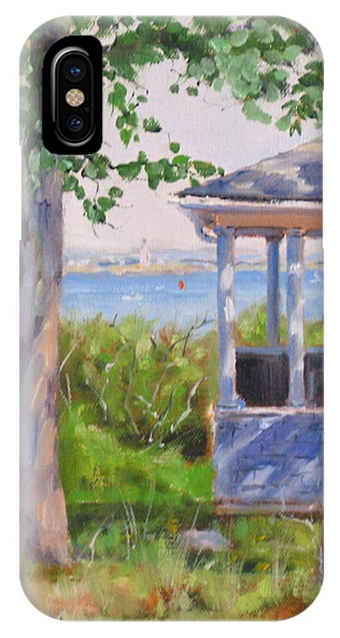 Oil Painting IPhone Case featuring the painting View From Pointe Allerton by Laura Lee Zanghetti