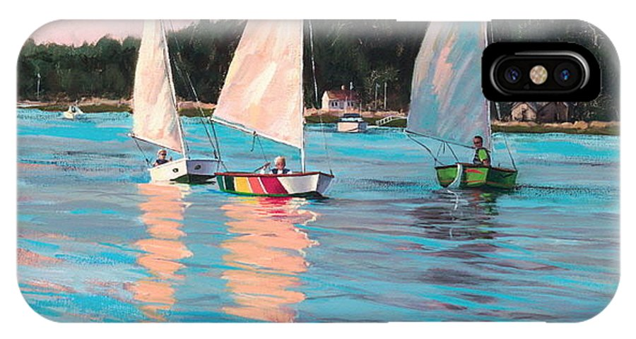 Actrylic Painting IPhone X Case featuring the painting View From Rich's Boat by Laura Lee Zanghetti