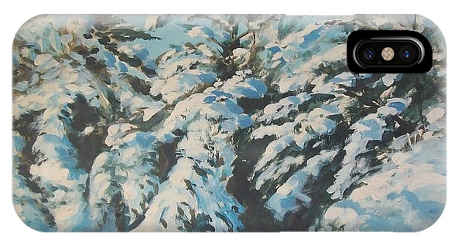 Snow Scene IPhone X Case featuring the painting View From Studio by Perrys Fine Art