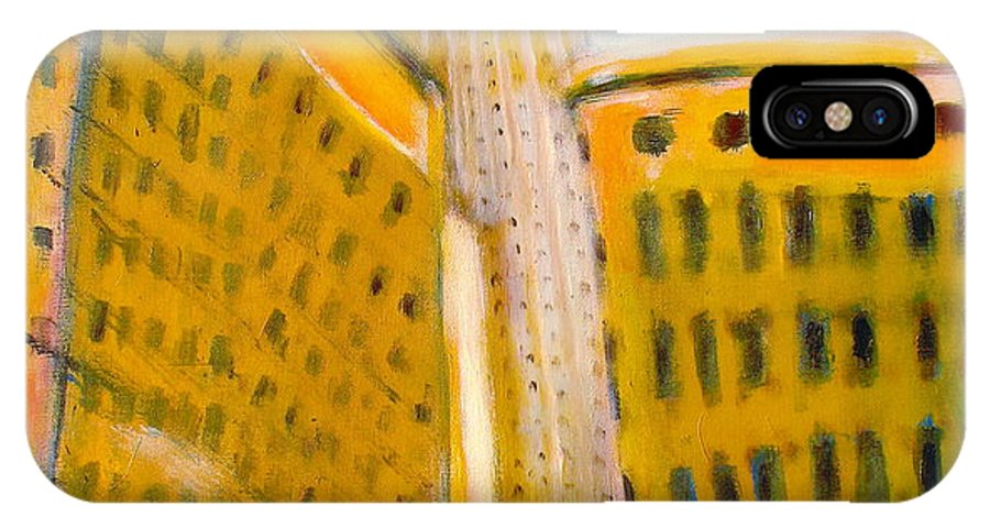 Abstract Cityscape IPhone X Case featuring the painting View From The 33 St by Habib Ayat