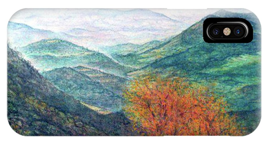 Landscape IPhone X Case featuring the painting View From The Autumnal Belchen  by Arkis Krayl