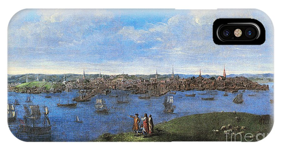 1738 IPhone X / XS Case featuring the photograph View Of Boston, 1738 by Granger