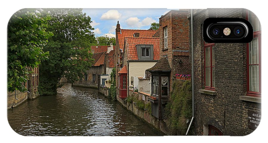 Canal IPhone X Case featuring the photograph View Of The Canal From Maria Brug On Katelijnestraat In Bruges by Louise Heusinkveld