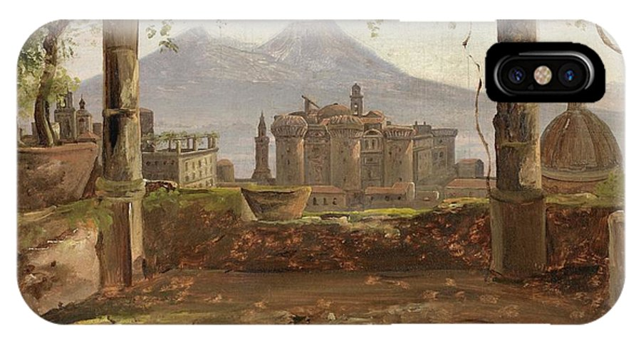 Anton Sminck Van Pitloo (arnhem 1790 - 1837 Naples) View Of The Castel Nuovo And Vesuvius From A Pergola IPhone X Case featuring the painting View Of The Castel Nuovo And Vesuvius From A Pergola by MotionAge Designs