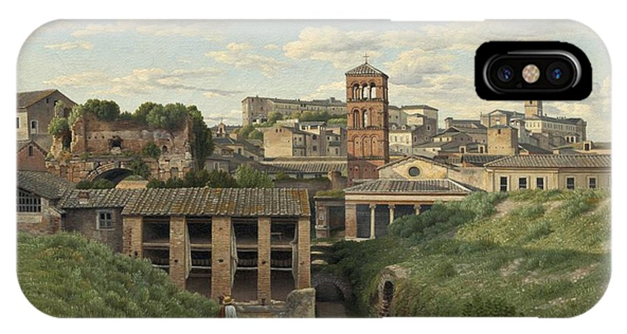 Christoffer Wilhelm Eckersberg IPhone X Case featuring the painting View Of The Cloaca Maxima - Rome by Christoffer Wilhelm Eckersberg