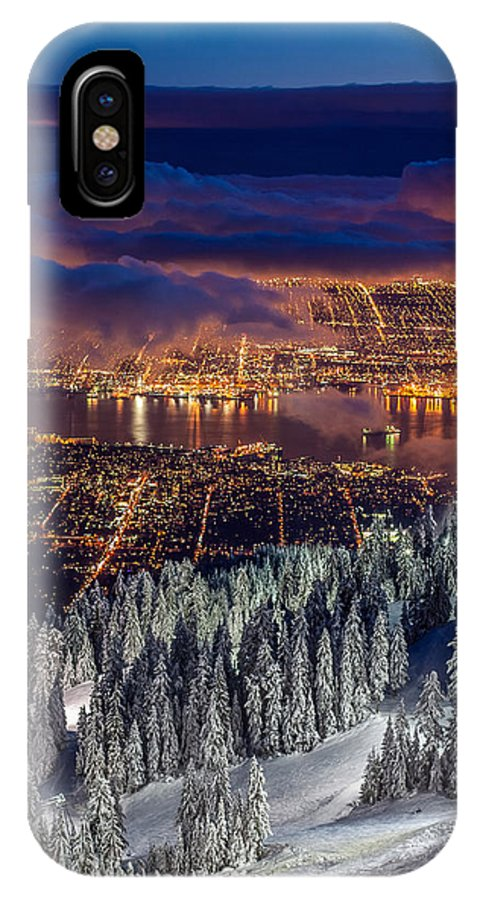 Vancouver IPhone X Case featuring the photograph View Of Vancouver From Grouse Mountain At Sunset by Pierre Leclerc Photography