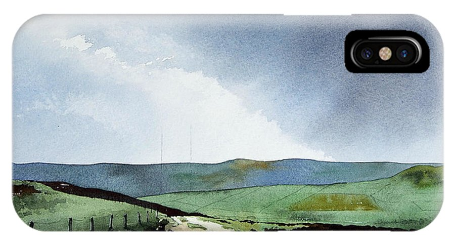 Landscape IPhone X Case featuring the painting View over Pole Moor by Paul Dene Marlor