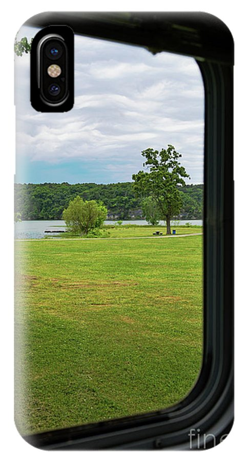Lake IPhone X / XS Case featuring the photograph View Thru Camper Window by Diane Friend