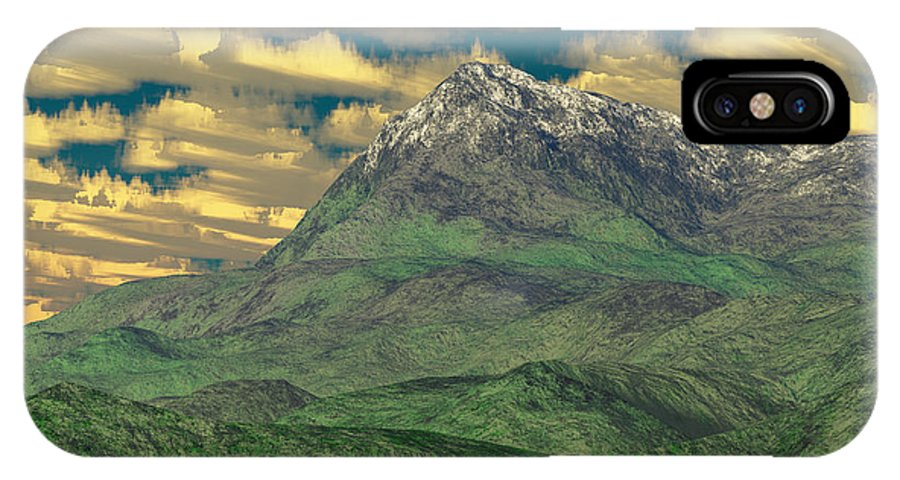 Digital Art IPhone X Case featuring the digital art View To The Mountain by Gaspar Avila