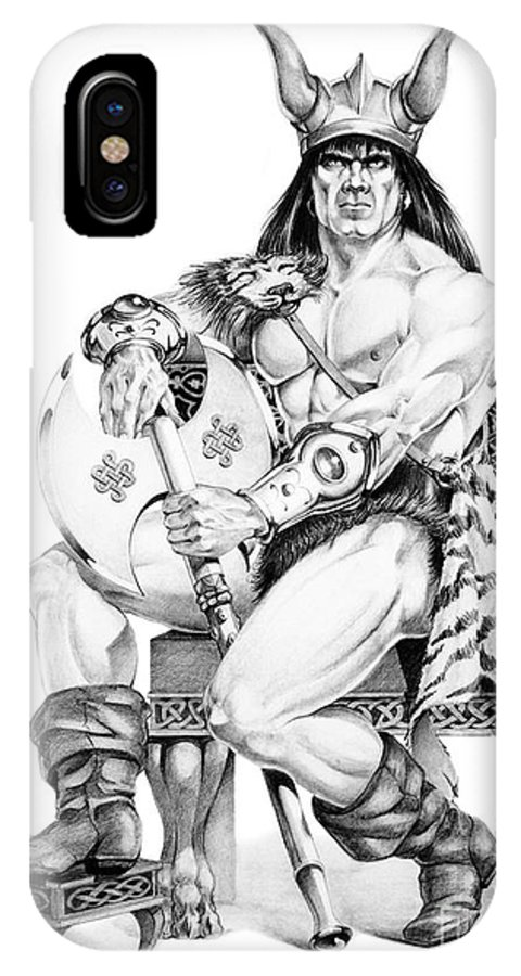 Viking IPhone X Case featuring the painting Viking Warrior by Melissa A Benson